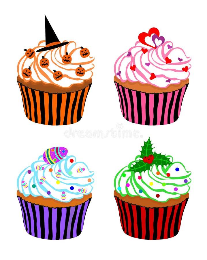 Download Festive Cupcakes stock vector. Image of dessert, cake - 24482161