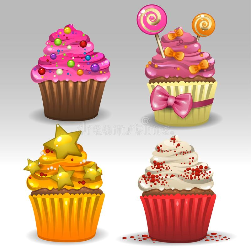 Festive cupcakes. Illustration of four festive cupcakes vector illustration