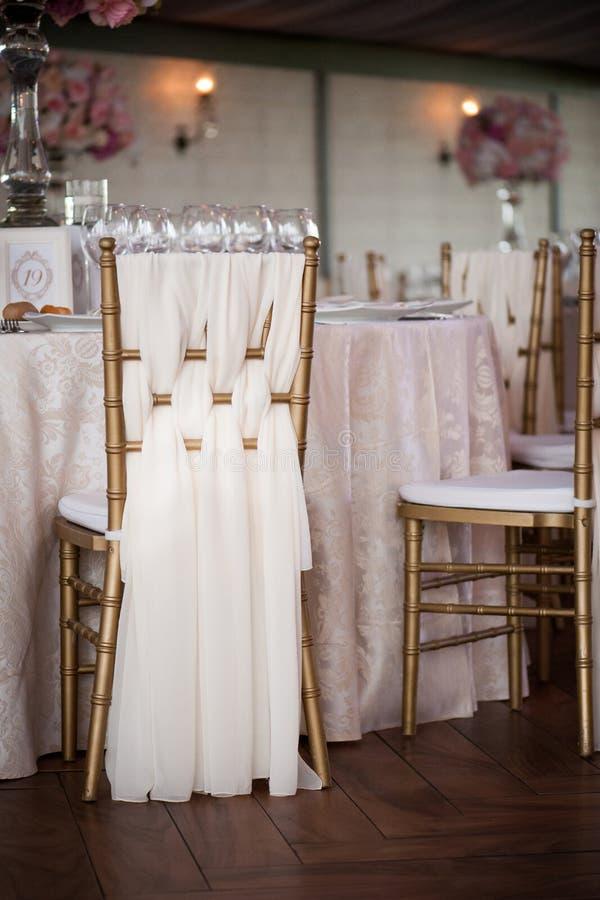 Wedding decor in the restaurant stock image