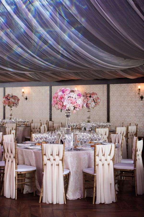 Wedding decor in the restaurant royalty free stock images