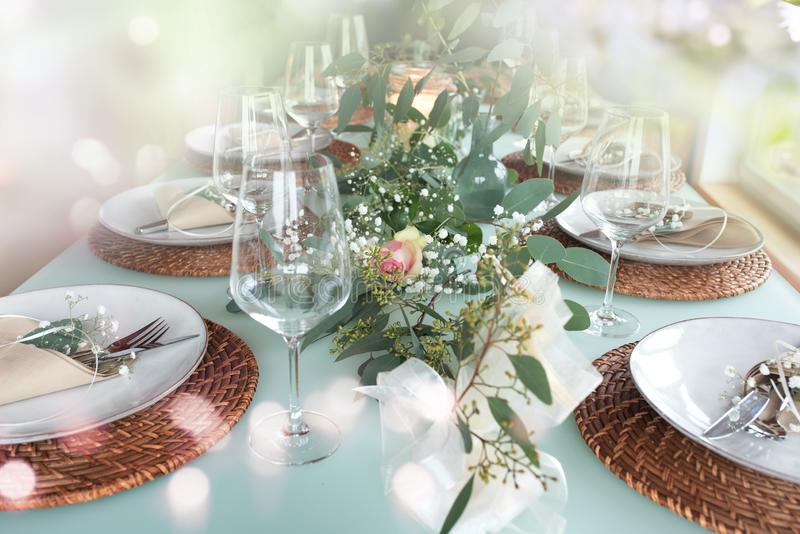 Festive decorated table royalty free stock photography