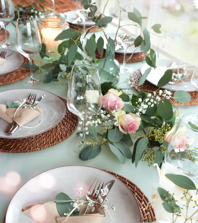 Festive decorated wedding table stock photo