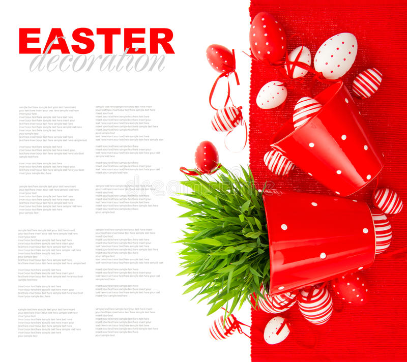 Festive decoration with white red easter eggs stock photos