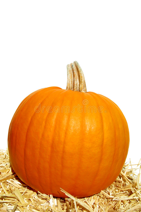Download Festive Decorative Pumpkin And Straw Bale On White Stock Image - Image: 3489007