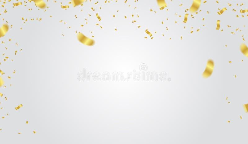 Festive design. Gold Border of colorful bright confetti isolated stock illustration