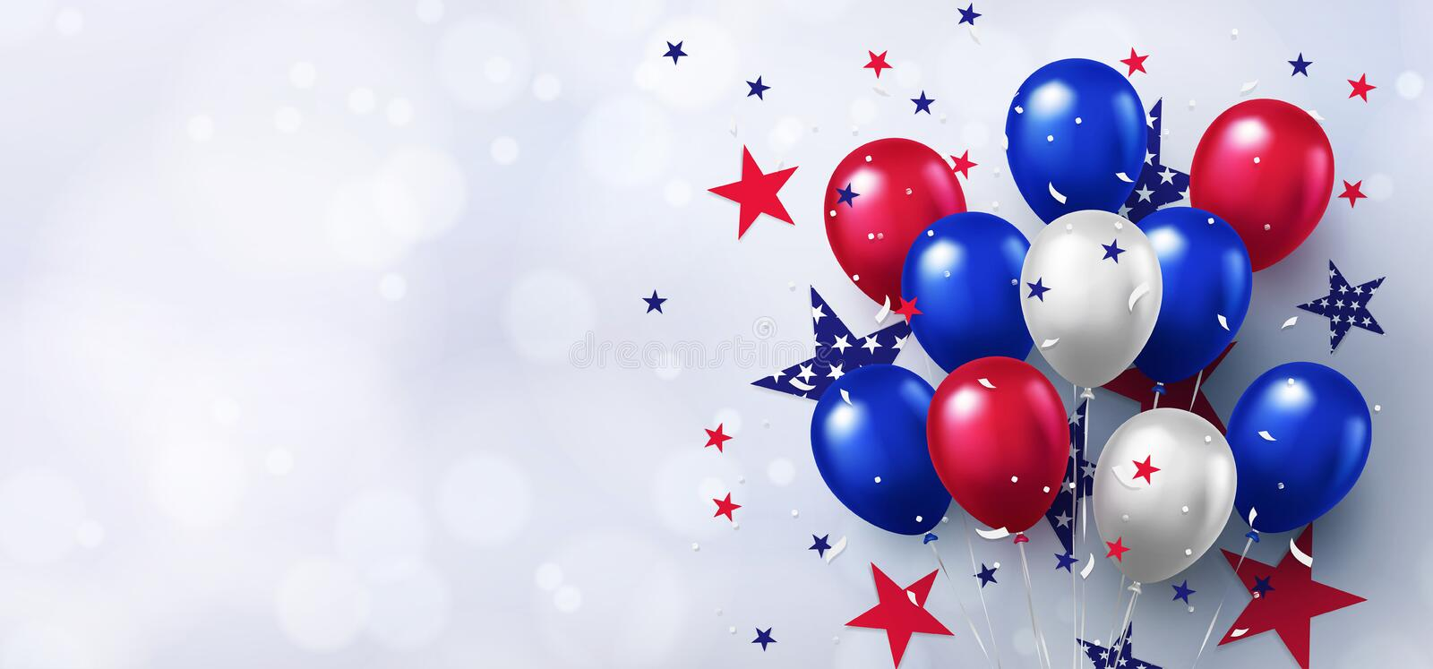Festive design with helium balloons in national colors of the american flag and with pattern of stars on white background. vector illustration