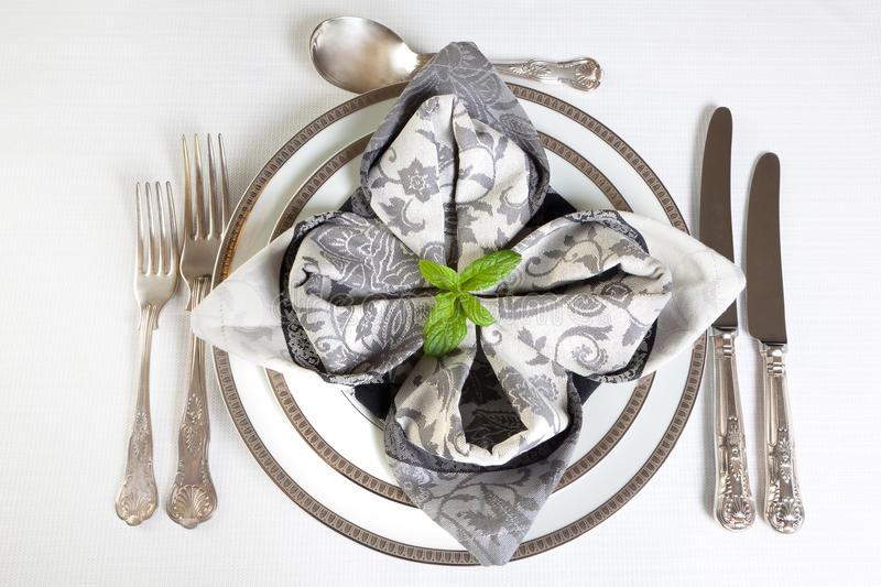 Download Festive Dinner Table In Silver And Grey Stock Photo - Image: 26803404