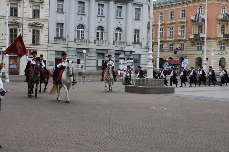 Festive equestrian parade on the occasion of Veterans of the City of Zagreb stock photos