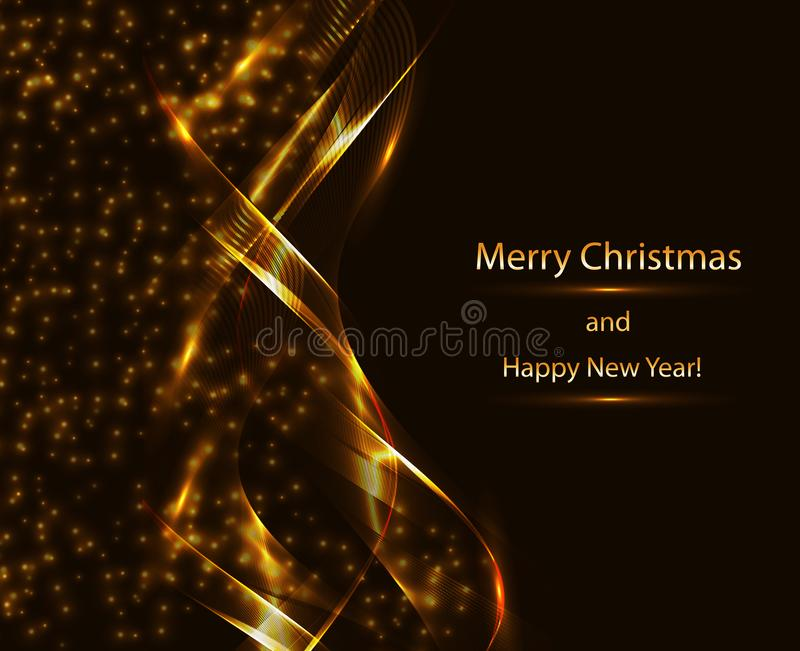 Festive expensive background in the form of abstract golden waves and sparkling stars vector illustration