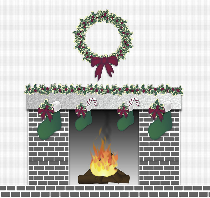 Festive Fireplace Grey vector illustration