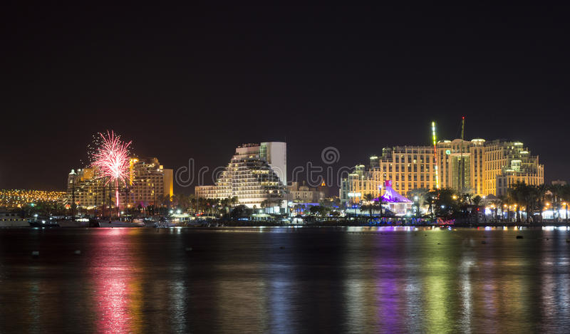 Festive firework in Eilat. Eilat is a famous resort and recreational city in Israel royalty free stock photos