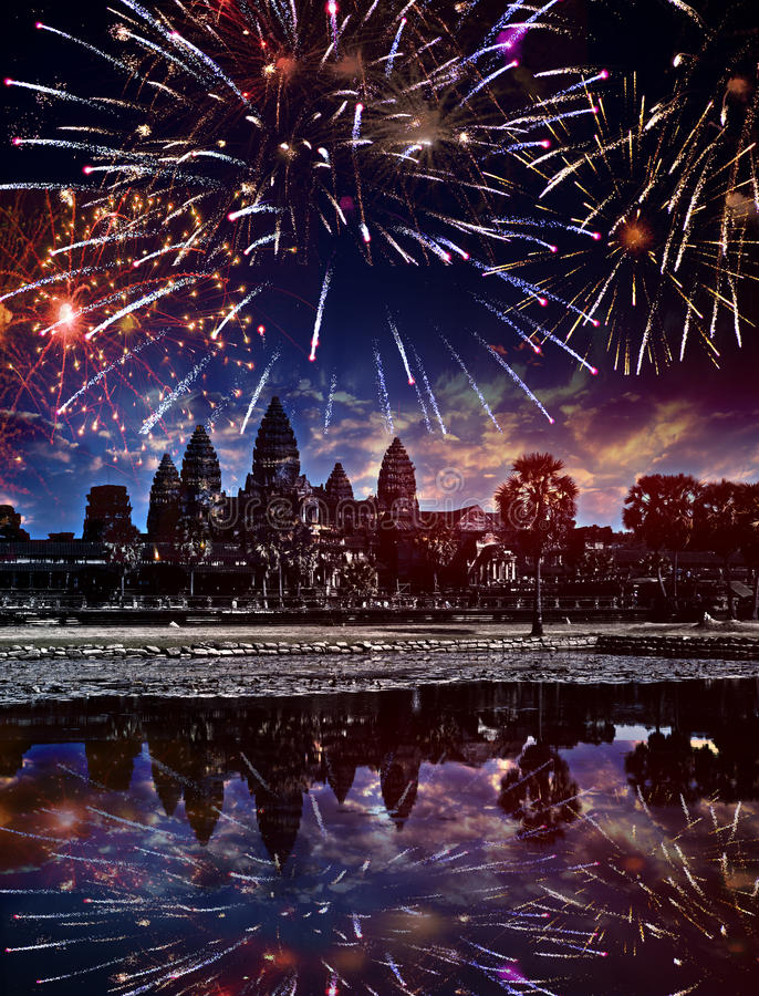 Festive firework over Angkor wat, Siem reap,Cambodia.  royalty free stock photos