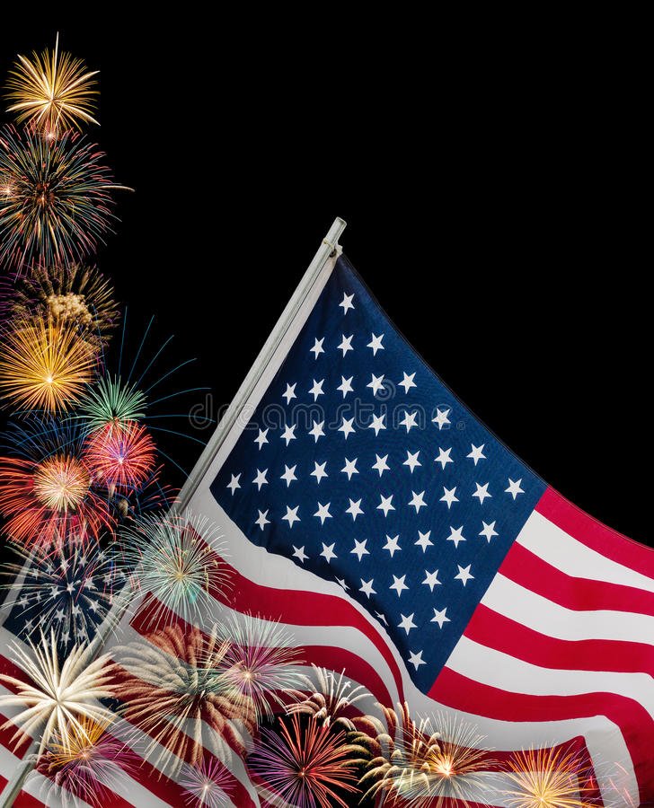 Festive fireworks and American flags. Festive fireworks display with American flags in celebration of 4th of July. Black background with copy space royalty free stock photos