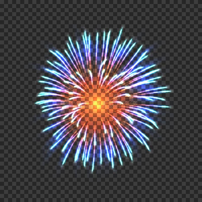 Festive fireworks with blue and orange sparkles royalty free illustration