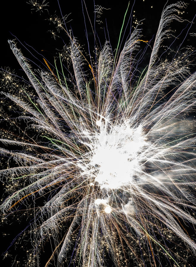 Festive fireworks. Fireworks and decorative lights a variety of colors and shapes produced by combustion of pyrotechnic compositions. Fireworks were invented stock photos