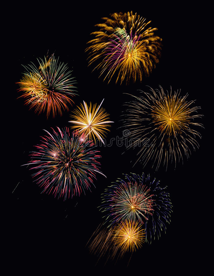 Festive fireworks display. On New Year's Eve royalty free stock images