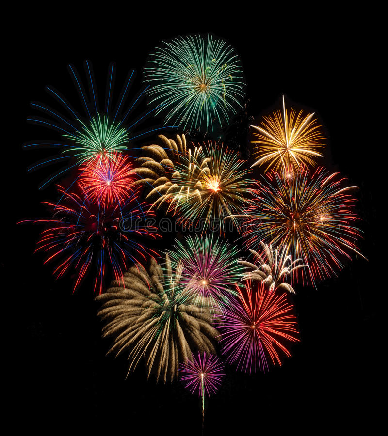 Festive fireworks display. Festive and colorful fireworks display stock images