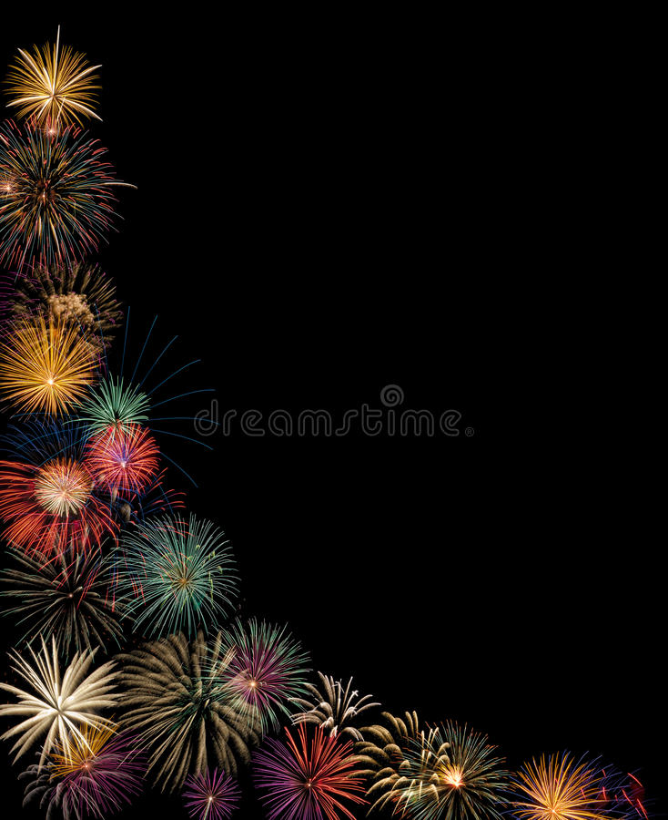 Festive fireworks display. Black background with copy space royalty free stock photo