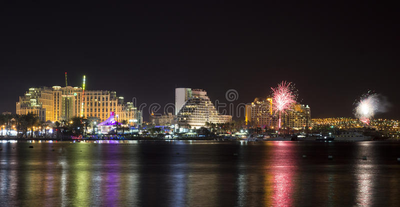 Festive fireworks at Eilat, Israel. Eilat is a popular resort and recreation city in Israel; it is located on the Red Sea royalty free stock photo