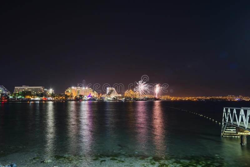 Festive fireworks at Eilat, Israel. Eilat is a famous resort and recreation city in Israel royalty free stock photography