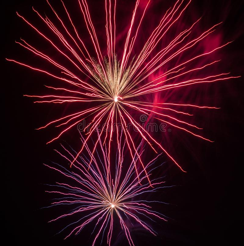 Festive fireworks. Fireworks and decorative lights a variety of colors and shapes produced by combustion of pyrotechnic compositions. Fireworks were invented stock photography
