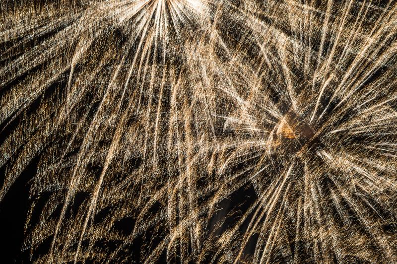 Festive fireworks. Fireworks and decorative lights a variety of colors and shapes produced by combustion of pyrotechnic compositions. Fireworks were invented stock photo