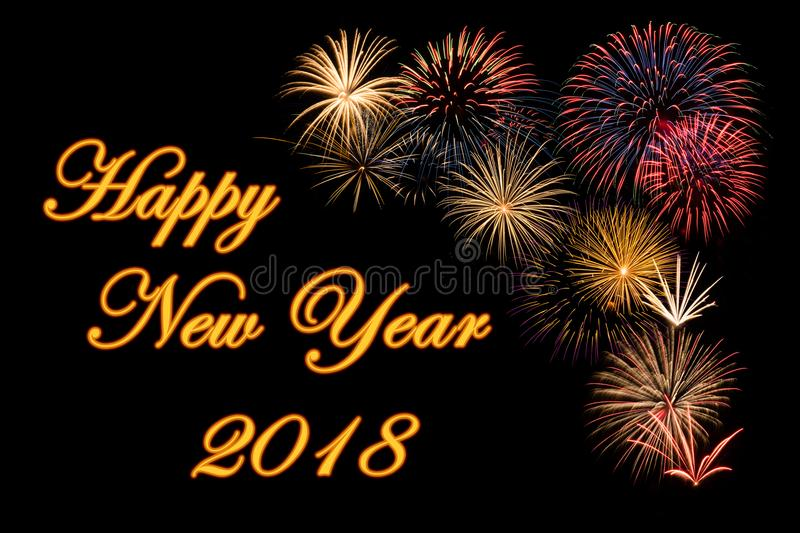 Festive fireworks for a Happy New Year. Festive fireworks display for a Happy New Year 2018 wishes stock image