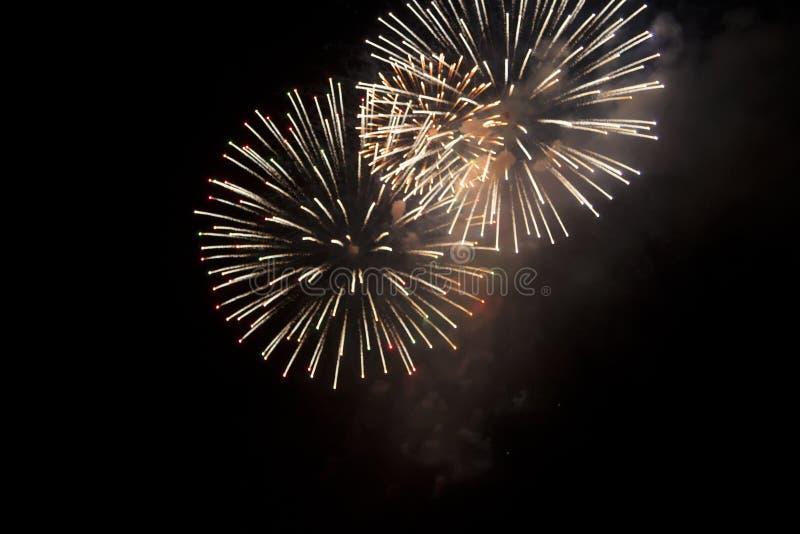 Festive fireworks on the night sky background stock image