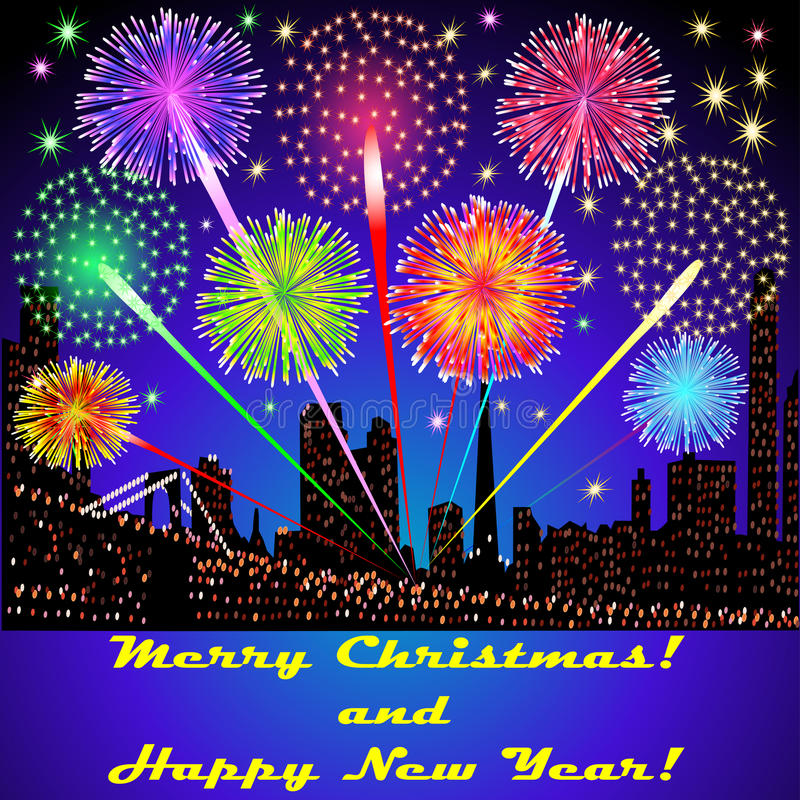 Of the festive fireworks outside above. Illustration of the festive fireworks outside above the buildings in Christmas vector illustration