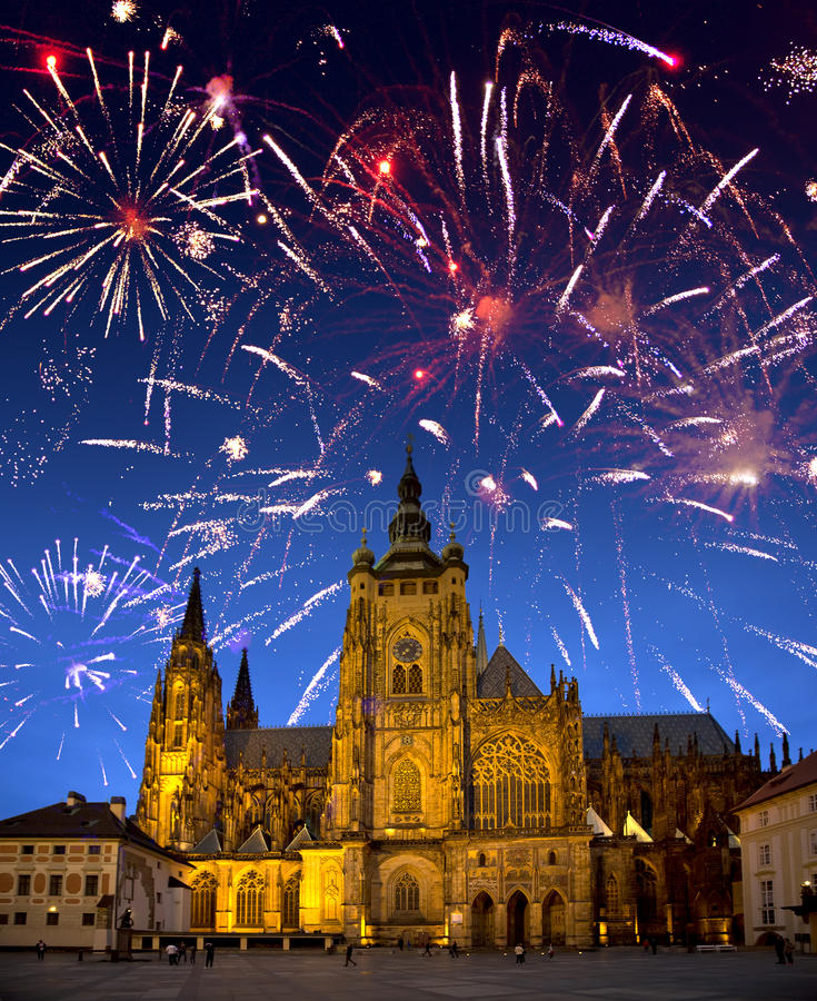 Festive fireworks over the Saint Vitus's cathedral, Prague, the Czech Republic.  royalty free stock images