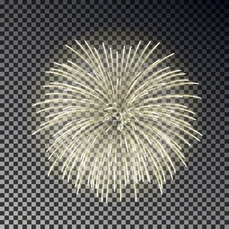 Festive fireworks set. Christmas firecracker light effect isolated on dark background. Firework deco royalty free illustration