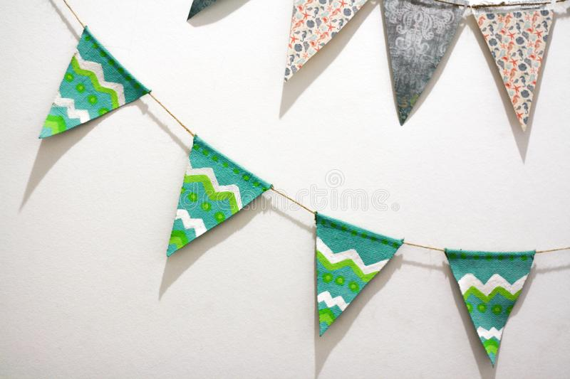 Festive flags on a light background. Festive green flags on a light background royalty free stock images