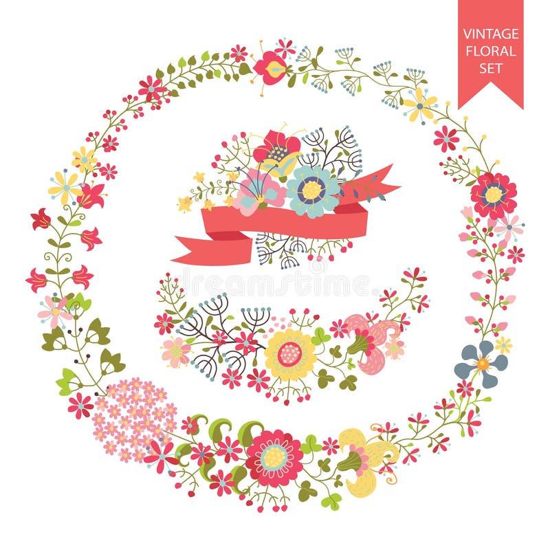 Festive floral set. Frames, flowers, wreath vector illustration