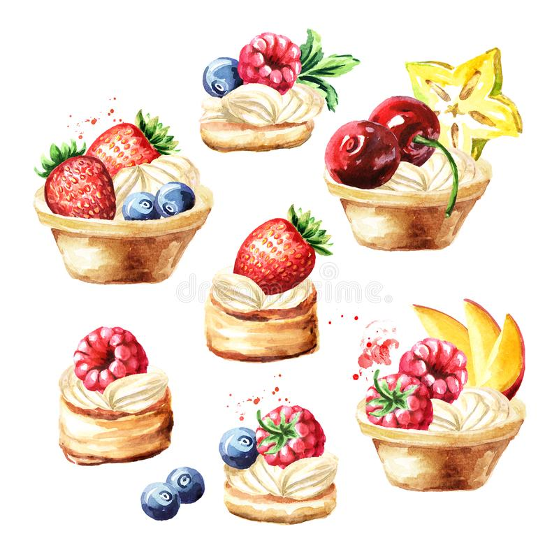 Free Festive Food, Sweet Tarts With Fruits And Berries Set, Watercolor Hand Drawn Illustration Isolated On White Background Stock Photos - 154589953