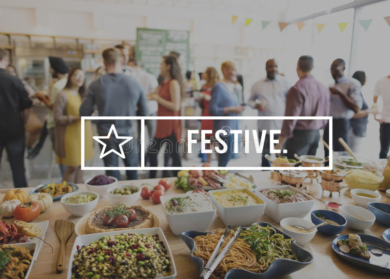 Festive Foodie Eating Delicious Party Celebration Concept royalty free stock image