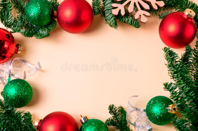 Festive frame with colorful christmas balls and decorations. Flat lay overhead with copy space for your text stock photography