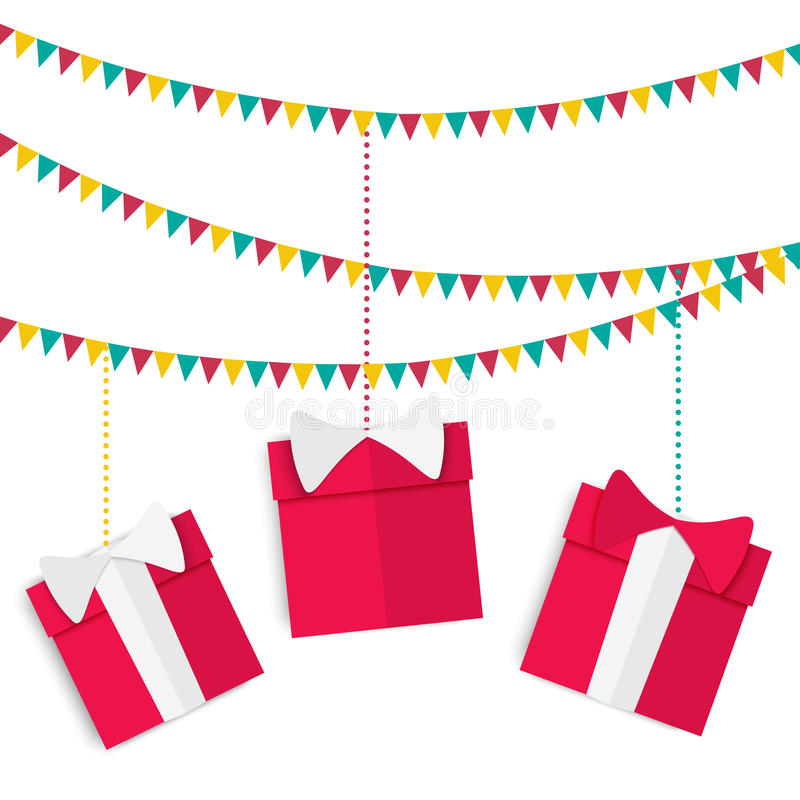 Free Festive Garland With Presents In Red Boxes With Bows On Birthday, Christmas And New Year In A Flat Style Royalty Free Stock Photos - 61600158