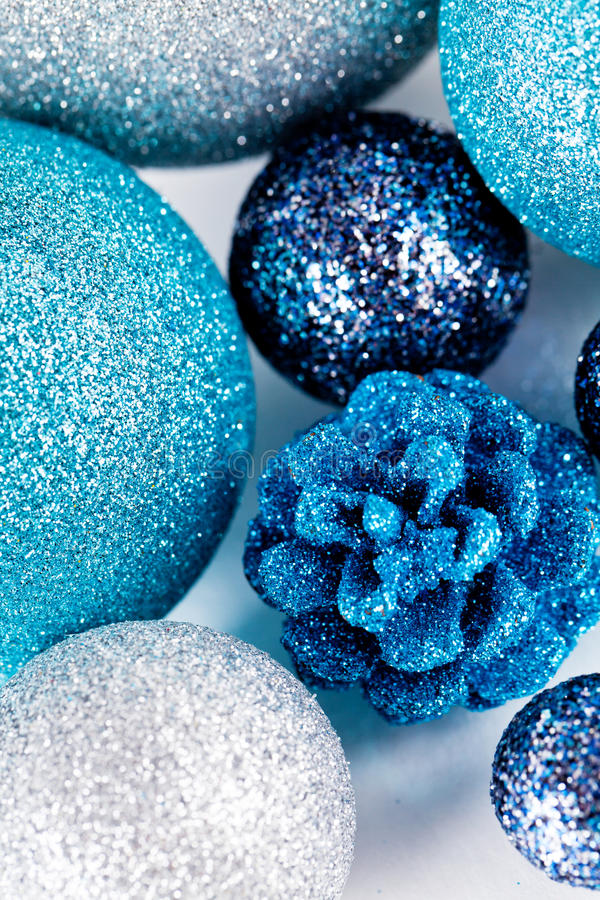 Download Festive Glitter Christmas Decoration Silver Blue Stock Image - Image: 30476985