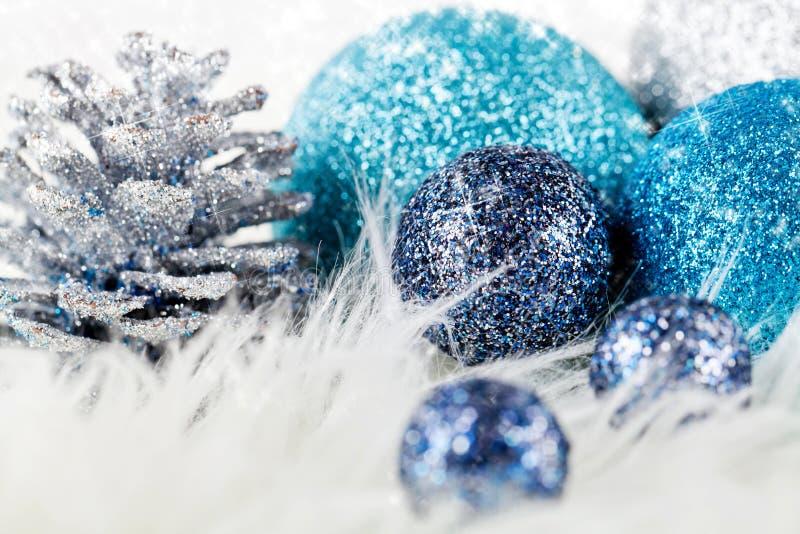 Download Festive Glitter Christmas Decoration Silver Blue Stock Image - Image: 30477299