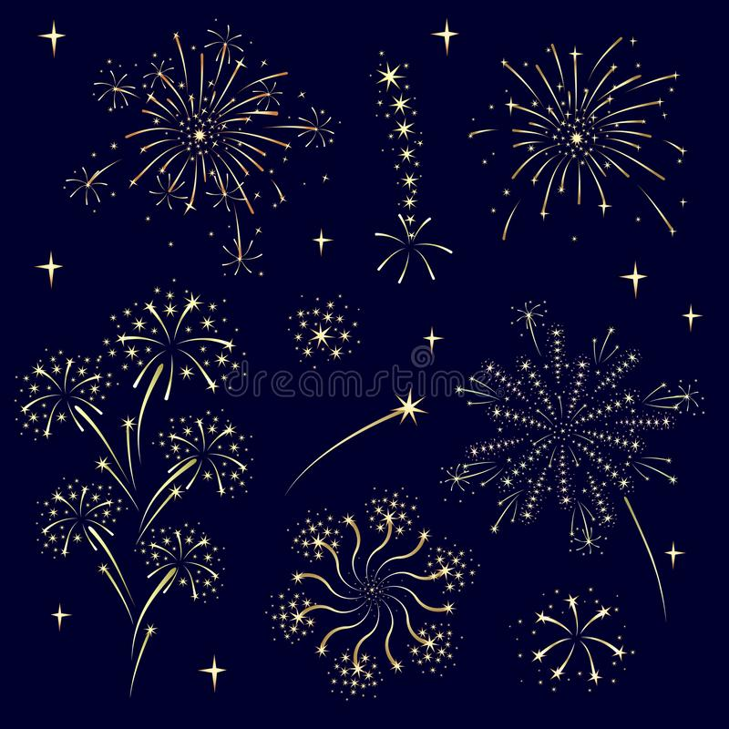 Festive golden fireworks. Set of isolated vector illustrations. vector illustration