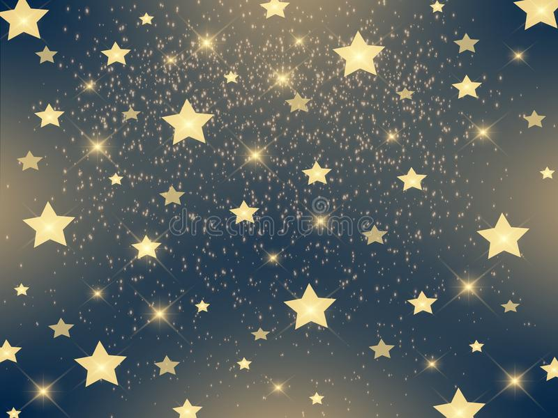 Festive gold stars on a dark background royalty free illustration