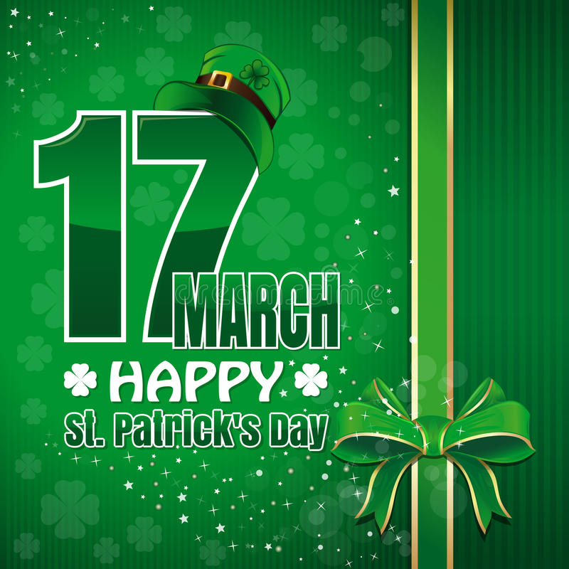 Festive green background to St. Patricks Day. Happy St. Patricks Day. March 17 royalty free illustration
