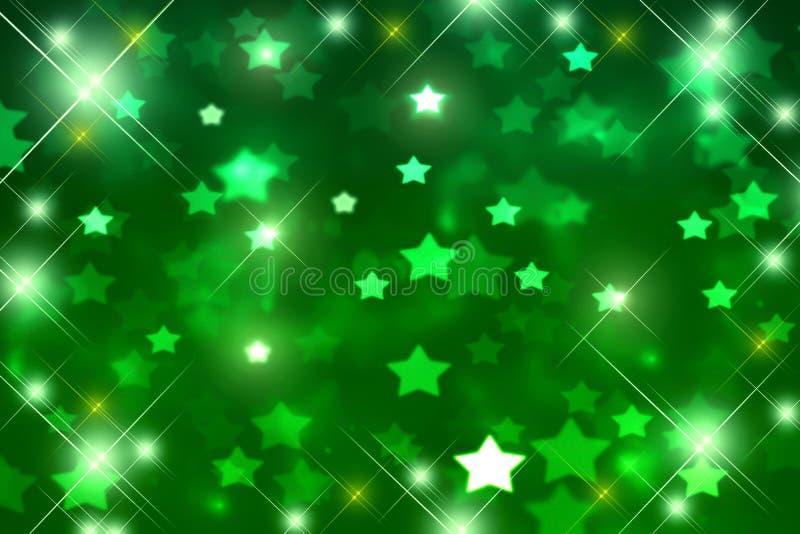 Festive green bokeh background, blurred, glitter, disco, Christmas, green stars, birthday, fun. Abstract Fine art background background birthday spot blurred vector illustration