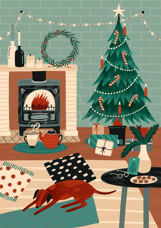 Festive greeting card or postcard template with cozy room decorated for holidays, Christmas tree, fireplace and dog stock illustration