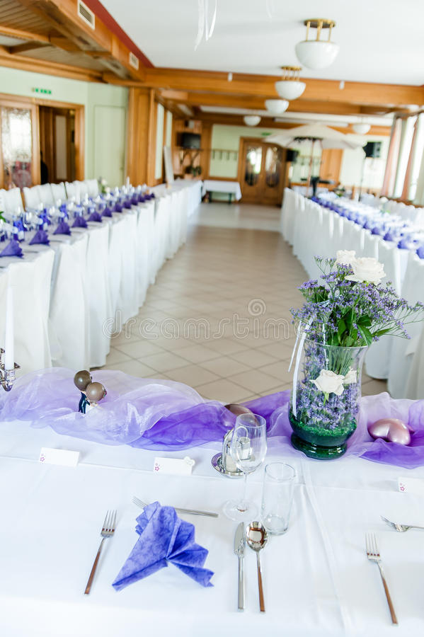 Download Festive Hall In White And Purple Stock Photo - Image: 29466568