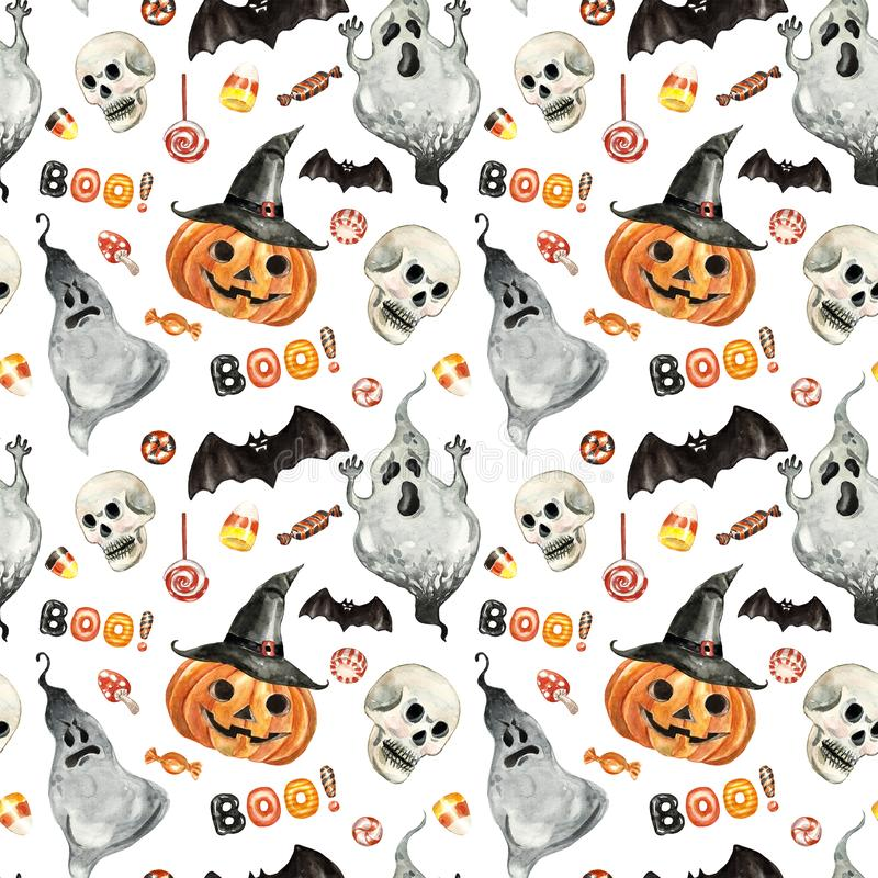 Free Festive Halloween Seamless Pattern With Hand Painted Symbols Of October 31. Watercolor Pumpkin Head, Spooky Ghost, Scary Skull Royalty Free Stock Photography - 162075397