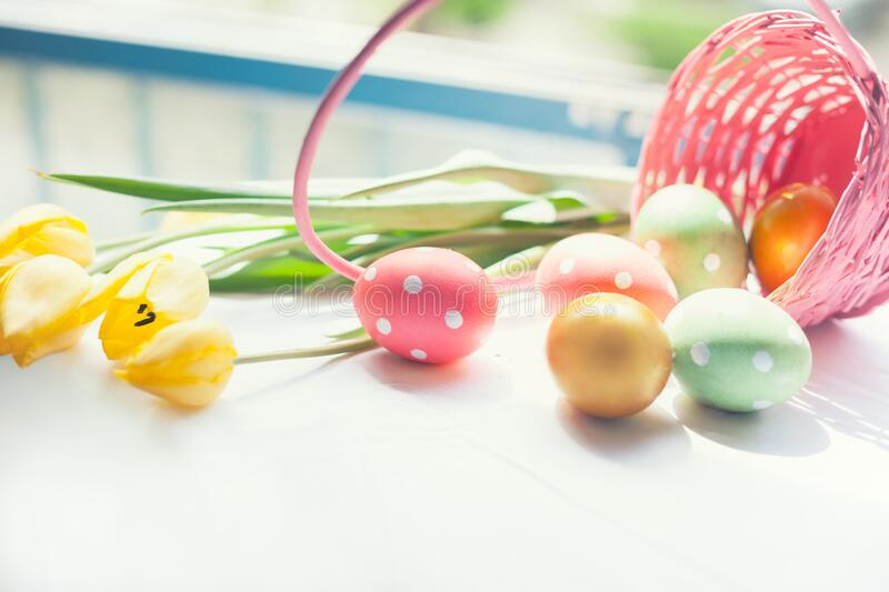 Festive hand painted dotted eggs stock photos