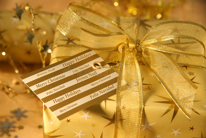 Festive holiday greetings. On Christmas card stock image