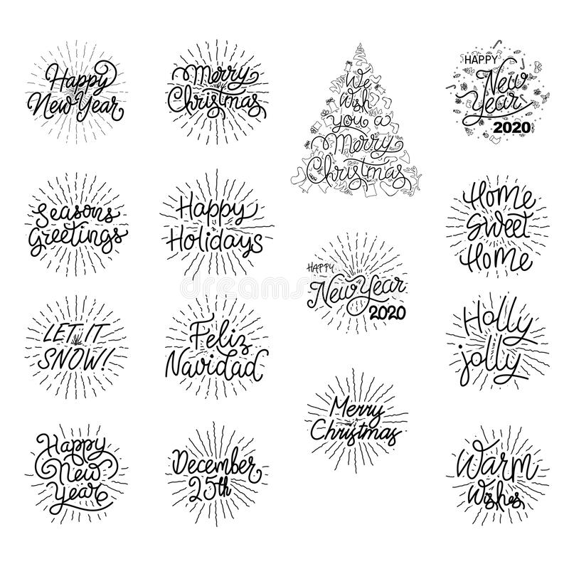 Free Festive Holiday Hand Lettered Text - Happy New Year And Christmas Typography Royalty Free Stock Photo - 164465645