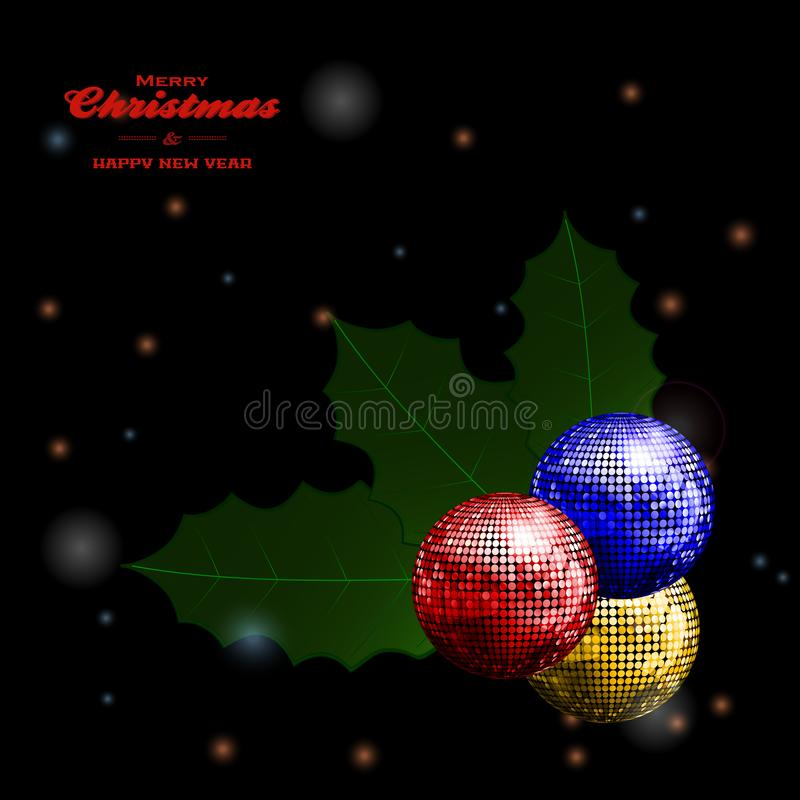 Festive holly disco balls and text on glowing background vector illustration